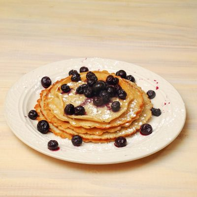 American pancake with blueberries